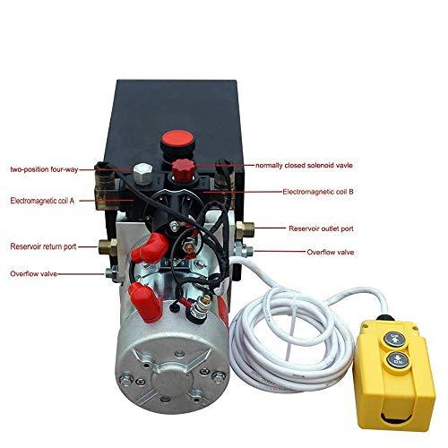Bomba hidráulica de doble efecto de alta calidad Remolque de descarga de 12 V- 6 cuartos de galón 3200 PSI Máx.