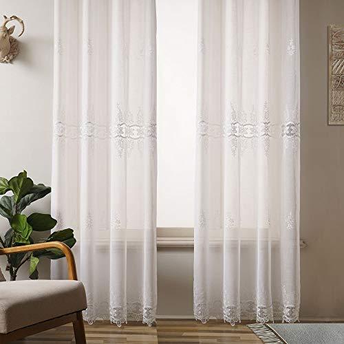 Viste tu hogar Pack 4 Cortina Decorativa con Diseño Bordado Semi Translucida, Estilo Simple y Elegante, para Salón, Habitación y Dormitorio, 4 Piezas, 145X260 CM, Estampado con Color Blanco