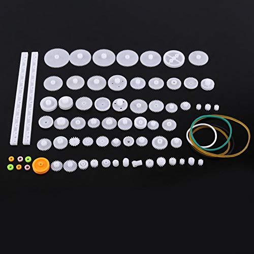 Kunststoff Getriebe,Riemenscheibe Wurm Kits tragbar langlebig Zahnrad Set aus hochwertigem Kunststoff,Plastic Gears Toy für Autos, Robotern sechs verschiedene Sets(75 Zahnradsätze)