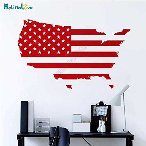 USA Karte Amerikanische Flagge Büro Aufkleber Home Wohnzimmer Dekor Vereinigten Staaten Sticker...