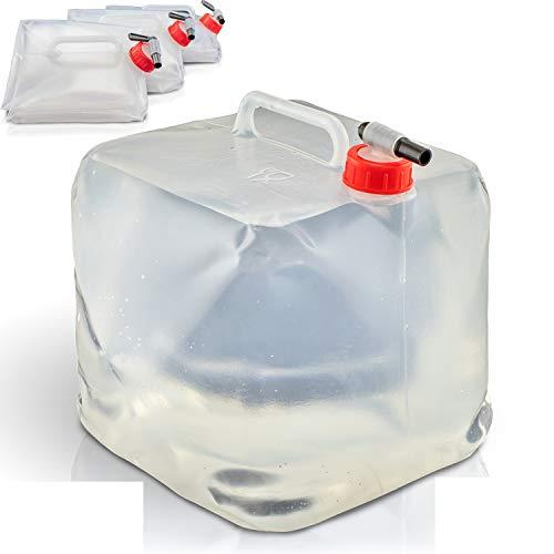 4 STÜCK Wasserkanister 10l | Faltbar | mit praktischem Ausgießhahn und Tragegriff | mit Schraubdeckel | 100{5a244e224949f4b2cf4687d5c49a0d2e9989b8618c473c90f4990940c6e71d0c} dicht | Wasserkanister für Camping, Outdoor etc. | Faltwasserkanister