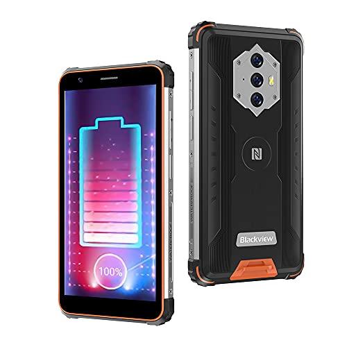 Rugged Smartphone,Blackview BV6600 Cellulari Offerte con 8580mAh Batteria,4GB RAM+64GB ROM 128GB Espandibili,16MP+8MP,5.7 Pollici,Android10 Cellulare Antiurto 4G,NFC GPS OTG Dual SIM Telefoni-Arancia