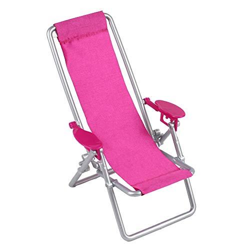 Duoiao - Tumbona plegable, muebles de casa, playa de salón en miniatura para muñecas Barbie 11.5in, rosa, talla única