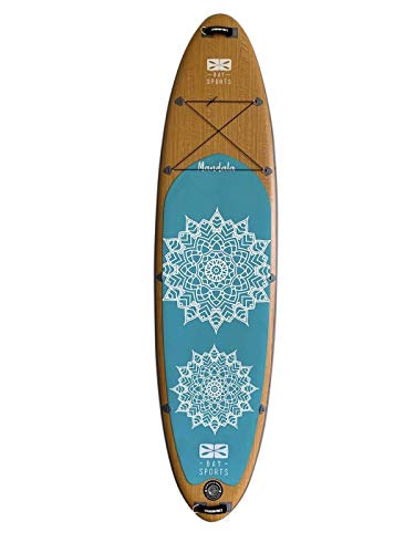 """Bay Sports 10'6"""" Premium Inflatable SUP Board Mandala Series - iSUP with Performance Fibreglass 3-Piece Adjustable Paddle, Shoulder Carry Strap and FCS 'Click-in' Fin - Designed in Australia"""