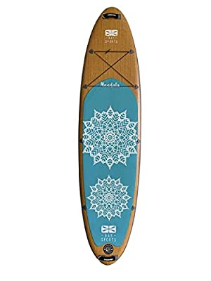 "Bay Sports 10'6"" Premium Inflatable SUP Board Mandala Series - iSUP with Performance Fibreglass 3-Piece Adjustable Paddle, Shoulder Carry Strap and FCS 'Click-in' Fin - Designed in Australia"