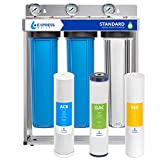"""Product Image of the Express Water Whole House Water Filter – 3 Stage Home Water Filtration System – Sediment, Coconut Shell Carbon Filters – includes Pressure Gauges, Easy Release, and 1"""" Inch Connections"""