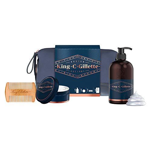 King C. Gillette Set de regalo Beard Essentials Bag (1 gel de lavado para barba y cara, 1 bálsamo para barba + 1 peine + 1 neceser