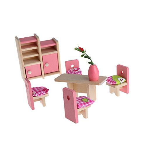 Xiangrun Muebles de casa de muñecas, Juegos educativos Muebles de Madera para niños Juego de casa de muñecas en Miniatura de 5 Piezas Juego de muñecas