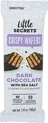 Little Secrets Crispy Wafers, Sea Salt Flavor, Gourmet Dark Chocolate Candy, All Natural, Fair Trade Certified, No Artificial Dyes, Healthy Snacks and Treats, No Corn Syrup, (1.4oz)