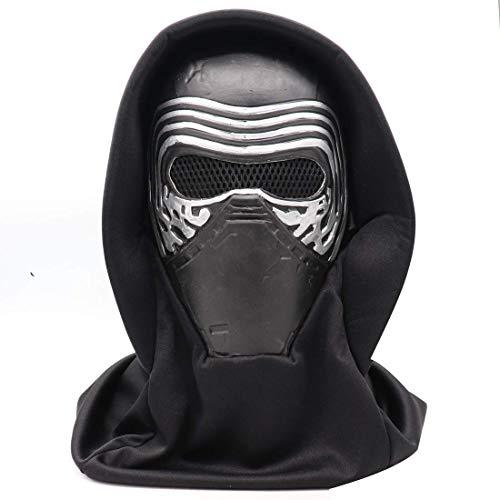Máscara Star Wars Kylo REN Casco con el pañuelo, Látex Cabeza Completa Máscara de Halloween del Juguete con el Cosplay Atrezzo (Color: Kylo REN máscara con el pañuelo) ZHW345