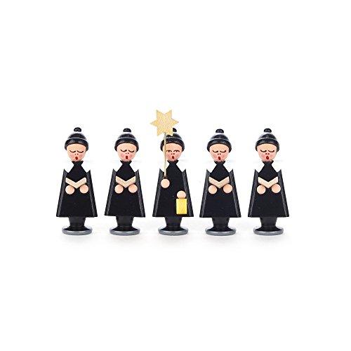 Dregeno Ertsgebergte - Kurrendefiguren sterrendragers en 4 zangers met boek zwart met pompon muts