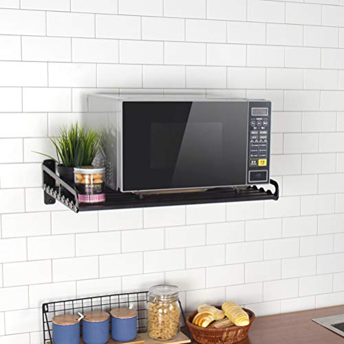 Electric Oven Holders, Microwave Oven Rack Kitchen Shelf, Black Storage Racks Wall Shelf, Kitchen Pan Pot Rack Organizer Aeronautical Aluminum, Weight Bearing 80 lb