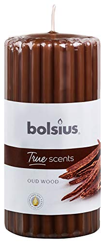 Bolsius Candela Profumata Pillar 120/58 mm Colonna Zigrinata, Colore Marrone Cioccolato, Fragranza Oud Wood, True Scents