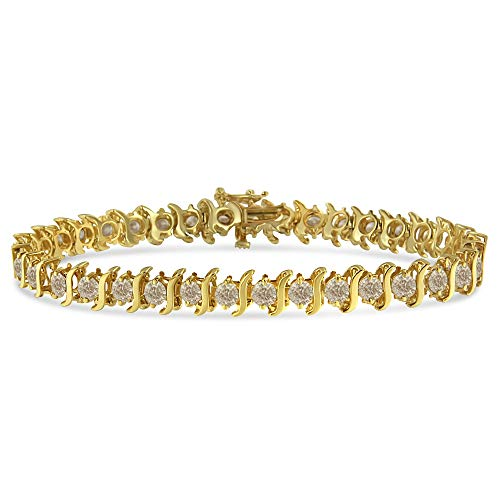 14K Yellow Gold-Plated .925 Sterling Silver 6.0 cttw Classic Round-Cut Diamond'S' Link Bracelet (J-K Color, I1-I2 Clarity) - Size 7.5'