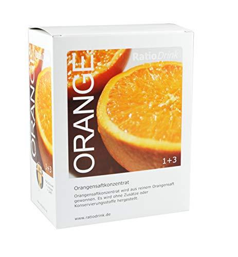 RatioDrink Orangen-Saft-Konzentrat, 3 Liter, 1+3, Im Karton Ohne Zusätze und Konservierungsstoffe, Zur Herstellung von 12 Litern Orangensaft