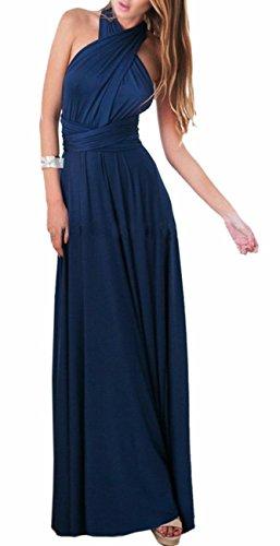 EMMA Damen Sexy Elgant V-Ausschnitt Rückenfrei Gefaltet Plisse Abendkleider Schulterfrei Cocktailkleid Abschluss Bandage Rücken, XL, Dunkel Blau