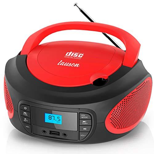 Lauson LLB992 Reproductor CD Portátil con Radio FM Digital y Pantalla LCD | Boombox con Lector USB para Reproducir Música MP3 | CD Player con Salida de Auriculares y Altavoces Incorporados (Rojo)