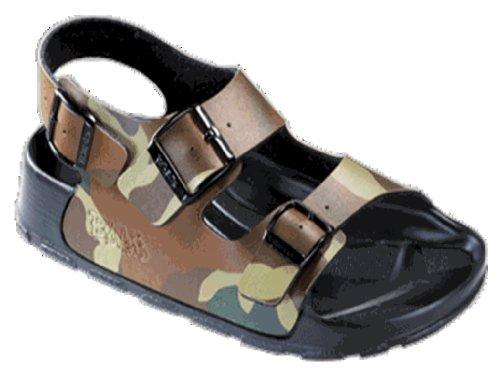BIRKIS Aruba Bade-Sandalen Birko-Flor, Camouflage, Größe 27 mit schmalem Fußbett