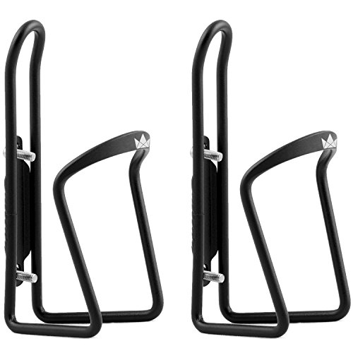 The Friendly Swede Alloy Bicycle Water Bottle Holder Cage (2 Pack), Black