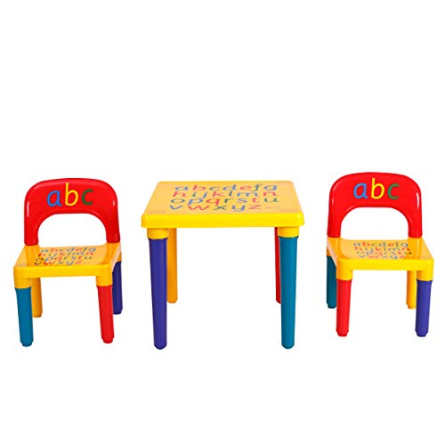 GOPLUS Kindersitzgruppe, Kindermöbel für Kinderzimmer und Kindergaretn, Sitzgruppe für Kinder, Kindertisch mit 2 Kinderstühlen