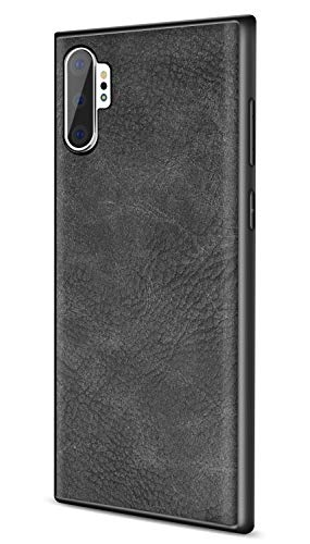 SALAWAT Galaxy Note 10 Plus Case, Slim PU Leather Vintage Shockproof Phone Case Cover Lightweight Soft TPU Bumper Hard PC Hybrid Protective Case for Samsung Galaxy Note 10+ 5G 6.8inch 2019 (Black)