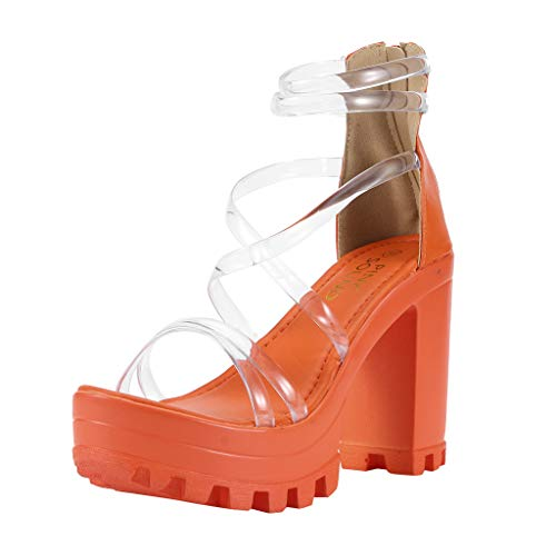 Corriee Womens Clear Ankle Strap Transparent Chunky High Heel Strappy Sandals Wedding Sandals Platform Shoes Orange