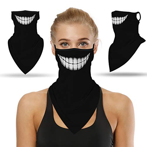 Artuxer Bandanas for Face Scarf Mask Ear Loops Stylish Face Rave Men Women Neck Gaiters for Dust Wind Motorcycle Mask (Smiley)