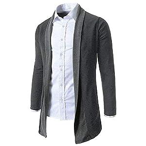 KMAZN メンズ ノーボタン ロングカーディガン コーディガン ショールカラー 大きいサイズ ニット 無地 薄手 バイカラー 黒 グレー 羽織