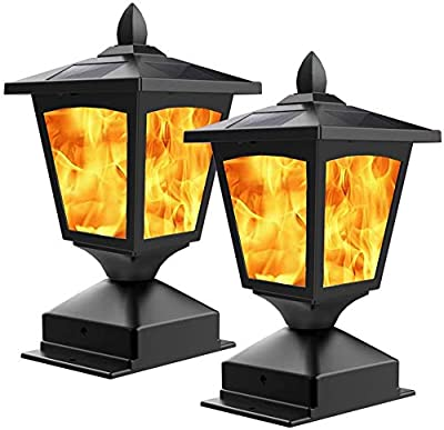 Solar Post Light,Outdoor Post Cap Light Flickering Flame Light for Fence,4 x 4 LED Waterproof Deck Lamp Post Top Solar Powered Light for Pathway Garden Patio Yard Landscape Decor