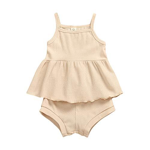 Moneycom❤Infantile Nouveau-né bébé Filles ruché Solide Sangle Gilet PP Short Pantalon Tenues Tenues Ensemble Beige(18-24 Mois)
