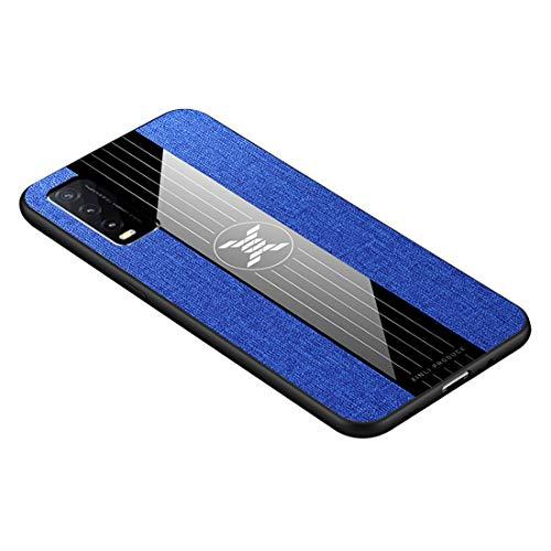 GOGME Hülle für Vivo Y20s / Y11s / Y20 Hülle, [ TPU Rahmen ] Shockproof Handyhülle, PC + Stoff - Backcover Hülle Cover Canvas Design Schutzhülle. Blau
