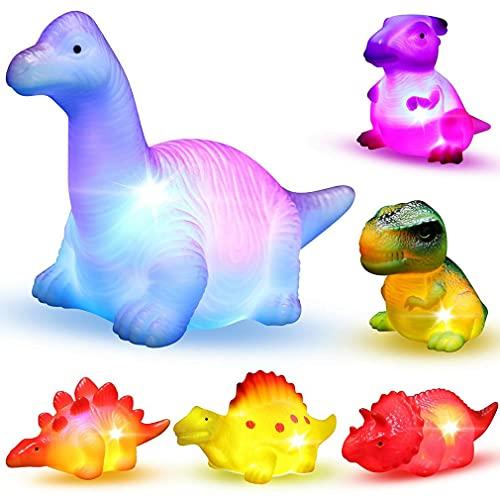 Juego de 6 piezas de dinosaurio flotante luminoso para niños de corta edad, bañera de agua, ducha, piscina, juguete de baño para niños en edad preescolar