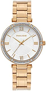 Police Chiba Analogue Gold Plated Case, Silver Dial And Rose Gold Watch For Women - PL 15568BSR-04M