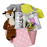 Vania's Baby Gift Basket Baby Girl First Fawn - Beautiful Baby Gift Basket - Baby Essentials, Clothes and Toys