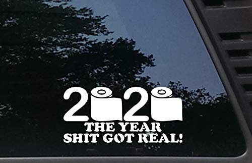 2020 The Year Shit got Real! - 8' x 3 3/4' die Cut Vinyl Decal for Windows, Cars, Trucks, Tool Boxes, laptops, MacBook - virtually Any Hard, Smooth Surface