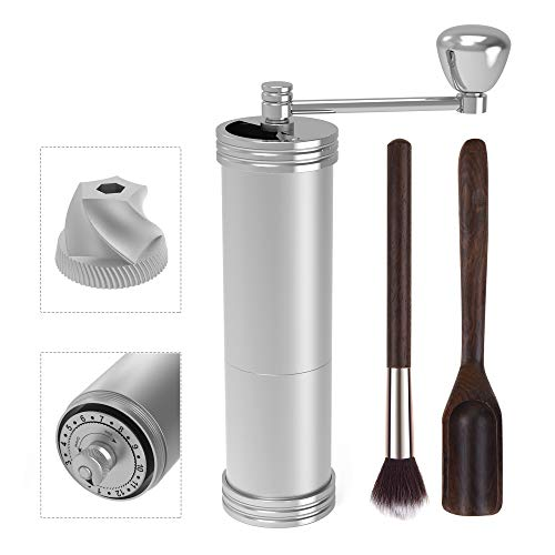 Manual Coffee Grinder with Adjustable Grind Settings, XSIATO Stainless Steel Conical Burr Mill Coffee Bean Grinder Best for Espresso, Turkish, French Press (Scale, Hand Crank, Cleaning Brush, Scoop)