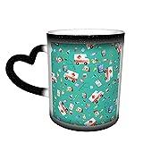 XCNGG Linda acuarela ambulancia enfermera doctor taza de café taza cambiante de color taza de cerámica divertida sensible al calor tazas