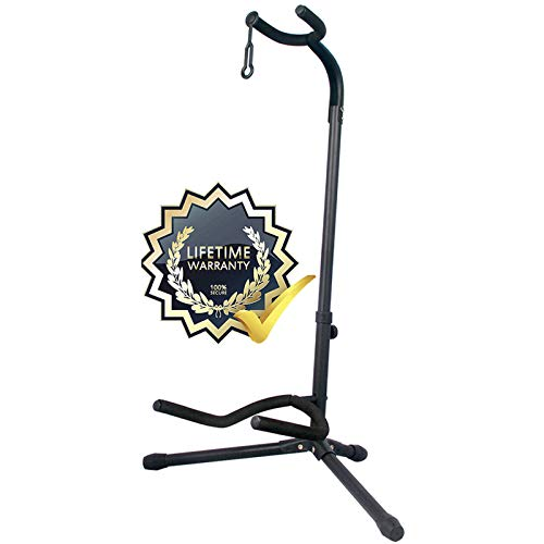 GLEAM Guitar Stand - Adjustable Fit Electric, Classical Guitars and Bass, Guitar Accessories, Folding Guitar Stand (CG-4)