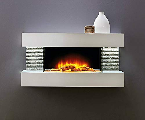 HomeZone? Modern White Wall Mounted Electric Fire Realistic LED Flame Effect with White Pebbles Or Log Burner. 220/240V 1000/2000W 7 Day 24hr Timer and Remote Control.