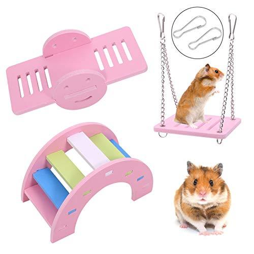 Phoetya 3er Pack Hamster Spielzeug, Naturholz Regenbogenbrücke & Wippe & Schaukel Hamster Spielzeug Kit Schöne Hamster Spielzeug DIY Langeweile Breaker Zubehör für kleine Haustiere