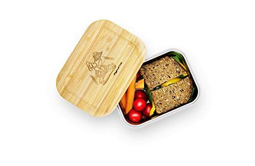 XXL Brotdose - einfächerig 1000ml - 100{fe87bfa3a89f475543885923b8eb47dec363aa644b50ab16095bffd64ebece94} auslaufsicher Dank Gummidichtung|Brotzeitbox aus Edelstahl mit Bambus Deckel & Gummiband|für Kinder & Erwachsene|ideal zur Frischhaltung von Speisen