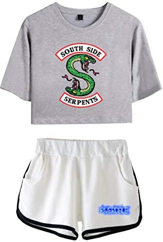 OLIPHEE OLIPHEE Kurzarm Rundhals T-Shirt + Kurze Hose Bekleidungssets für Mädchen mit Riverdale Southside Serpents Aufdruck Streetwear Anzug Grau Weiß 2XL