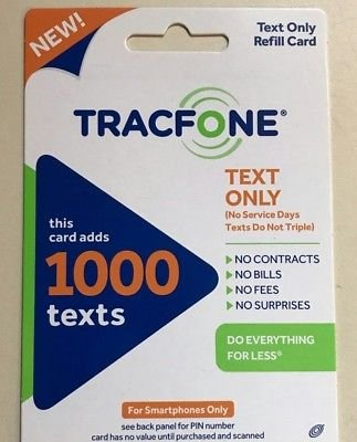Tracfone 1000 text refill card smartphone only