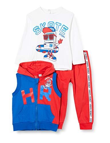 Chicco Tuta 3 Pezzi Bimbo: Gilet con Cappuccio + T-Shirt Manica Lunga + Pantaloni Lunghi Conjunto de Ropa, Rojo (Rossol BLU 071), 74 (Talla del Fabricante: 074) para Bebés