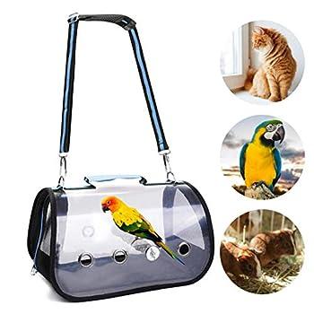 Cage de transport transparente pour oiseaux avec support en bois, sac à main portable respirant pour perroquet