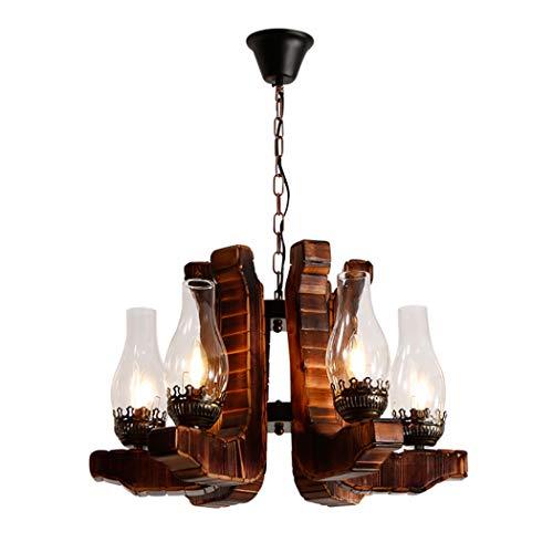 Iluminación de araña de madera de bambú de granja, luz colgante de suspensión de cadena industrial con pantalla de vidrio transparente, comedor, isla, luz de decoración de barra de mesa de billar