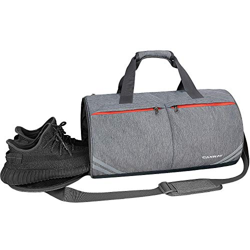 CANWAY Sporttasche Leichtgewicht Gymtasche 30L Fitnesstasche Wasserdicht Reisetasche mit Schuhfach und Nassfach für Frauen Kinder(Grau)