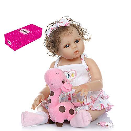 homese Reborn Babypuppe Silikon Ganzkörper 19 Zoll lebensechte süße Bade Puppen für Kinder Kinder Kleinkinder Geburtstag Dusche Geschenke weißes Sommerkleid Outfit mit Herz