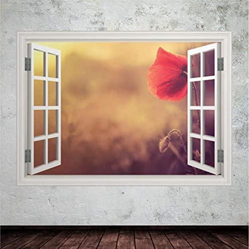 Vinilo adhesivo para pared con diseño de campo de flores rojas y veraniego, vinilo adhesivo para pared, 3D, adhesivo decorativo para pared, 31 pulgadas, bl204