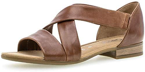 Gabor Damen Sandalen, Frauen Riemchensandalen,Comfort-Mehrweite, Freizeit leger römer-Sandale Sandalette Gladiatoren-Sandale,Peanut,42 EU / 8 UK